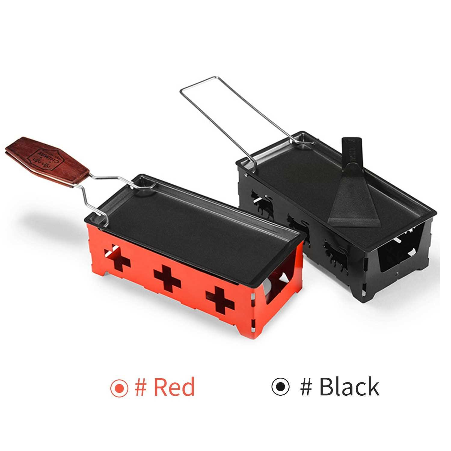 Non-Stick Raclette Grill Set Cheese Melter Pan with Spatula Foldable Wooden Ha