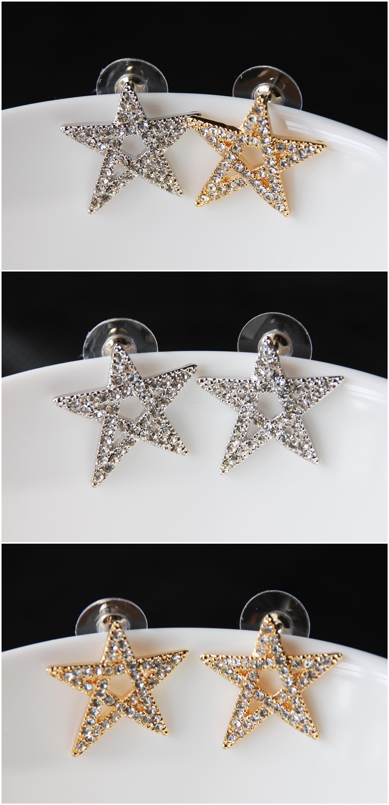 [Stock Clearance] Korean Earrings - Gold plated Crystal Star #2