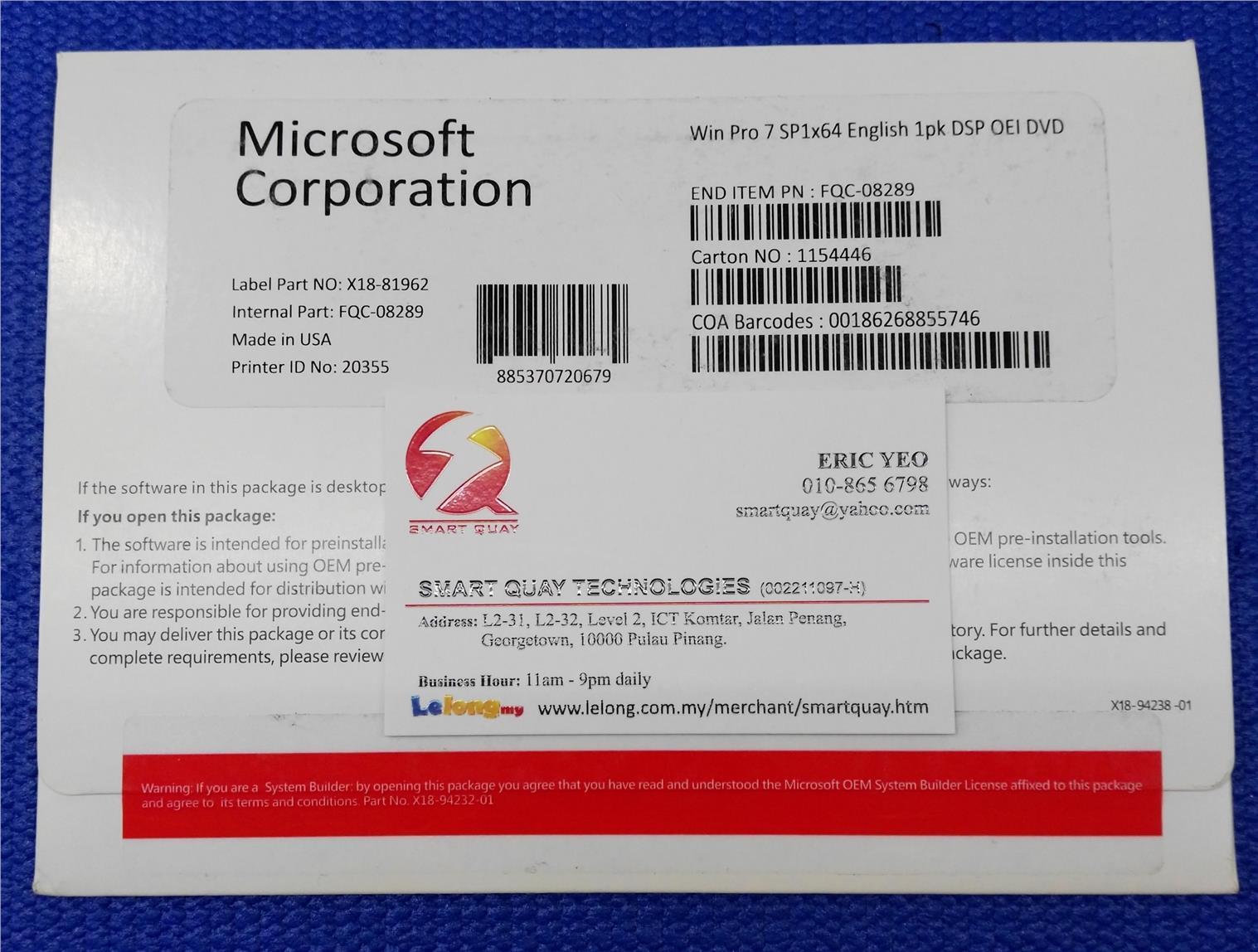 [Stock Clearance] Win Pro 7 SP1x64 English 1pk DSP OEI DVD