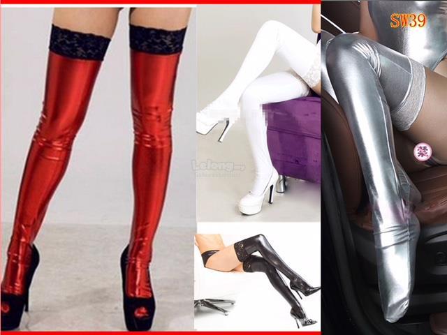 Stocking Latex Thigh High Black Lace Top Legging,PU Wet Look Shine Hot. ‹ ›