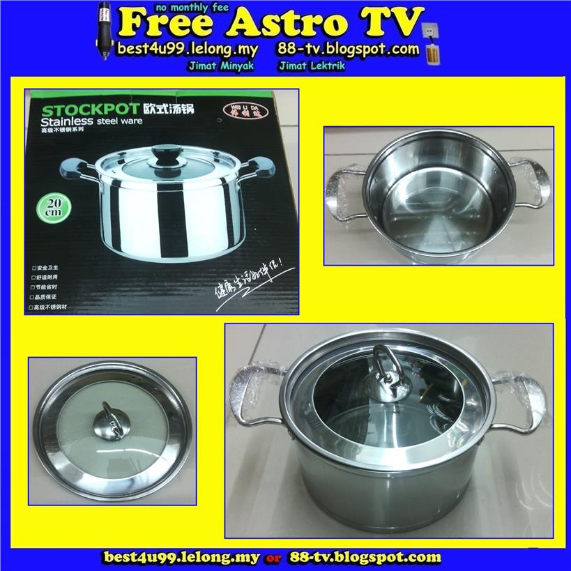 Stockpot stainless steel ware periuk masak Handle Stock Pot kitchen cm