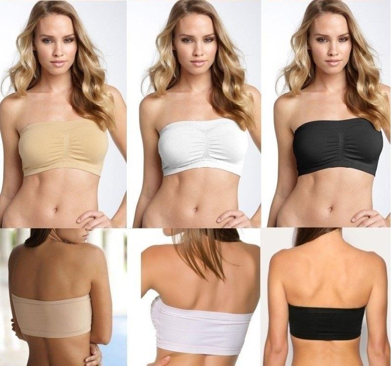 03f8966928f Strapless Removable Padded Bandeau Tube Top Free Clear Strap. ‹ ›