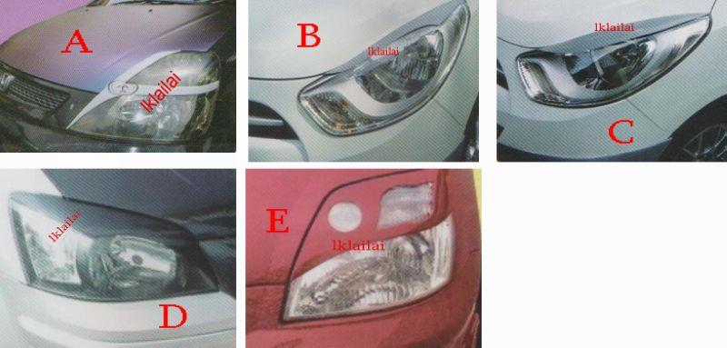 Stream/Hyundai i10/Getz/ Kia Picanto Head Lamp Cover / Eye Lip [Fiber]