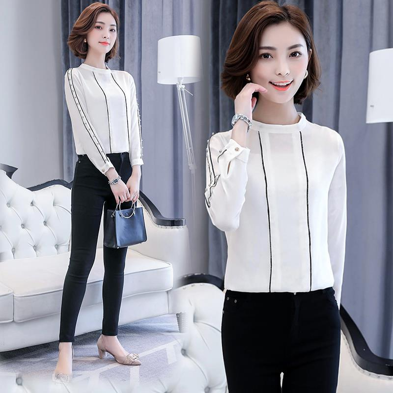 Studs Long Sleeve Blouse Fashion Office Wear For Women M Plus Size