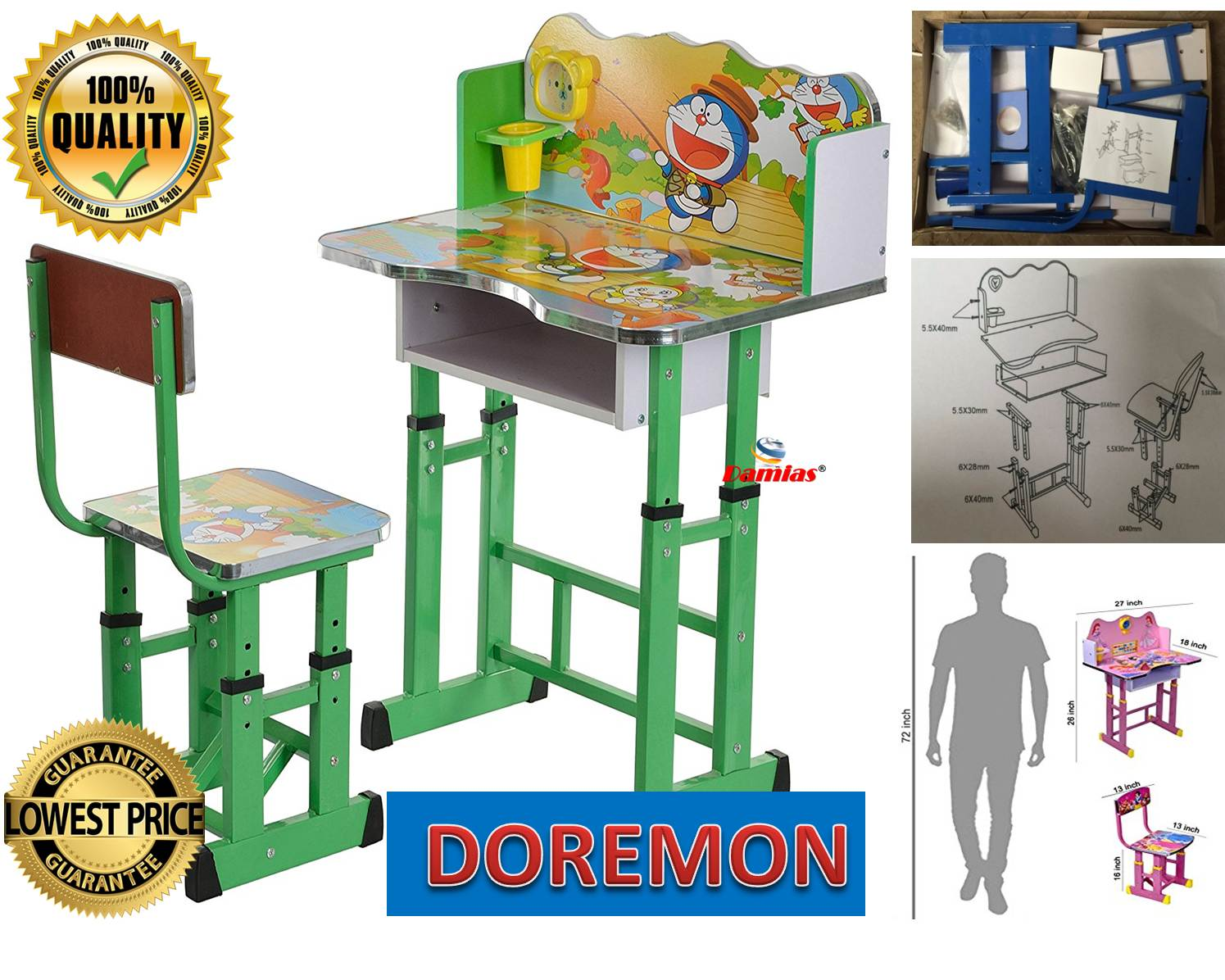 05b819fd9 Study Table and Chair Kid Set with Cartoon Theme   GREEN DOREMON