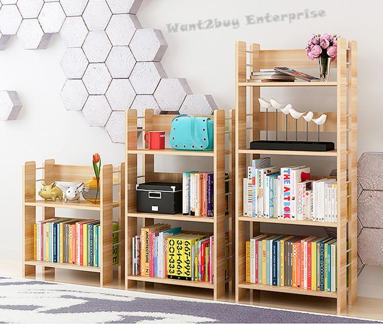 New Style Steel 2 3 4 Tier Bookcase Display Shelf Storage Bookshelf