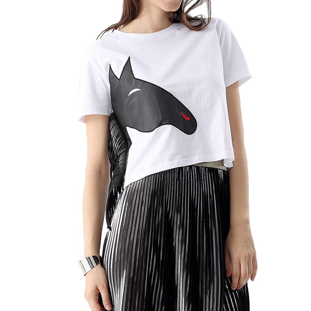 STYLISH ROUND COLLAR SHORT SLEEVE ANIMAL PRINT SIDE TASSEL COLOR BLOCK CROP TO
