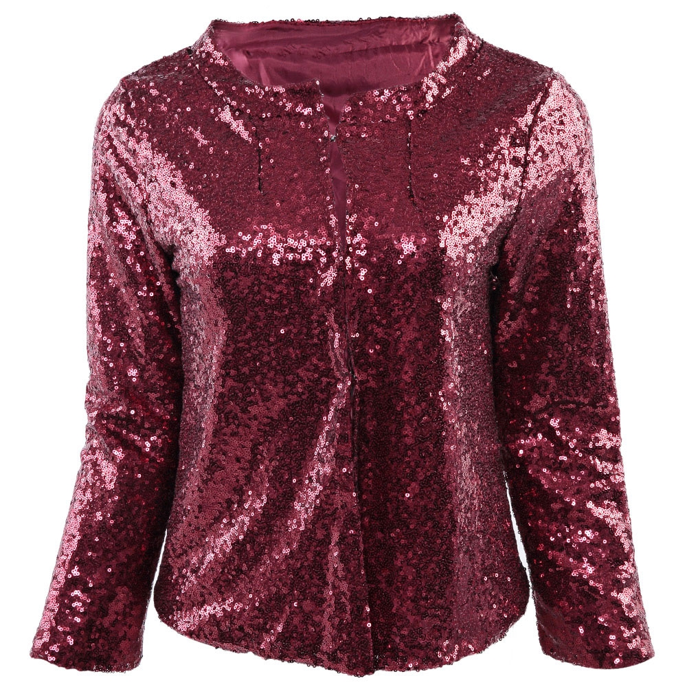 STYLISH COLLARLESS LONG SLEEVE SEQUIN (end 4/3/2020 9:37 PM)