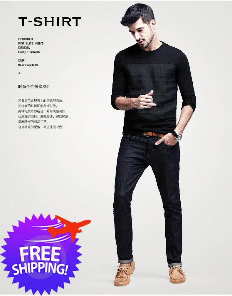 07a53e62 Stylish Fashion Men Long Sleeve Round Neck Autumn Wear Casual T-Shirt