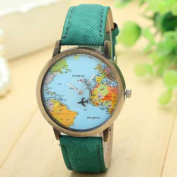 Stylish globe world map aiaplane pat end 7292018 115 pm stylish globe world map aiaplane pattern mens womens casual watch 7 gumiabroncs Gallery