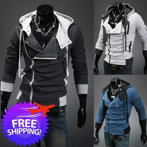 Stylish Men Slim Fit Zipper Long Sleeve Cardigan Hoodies. ‹ ›