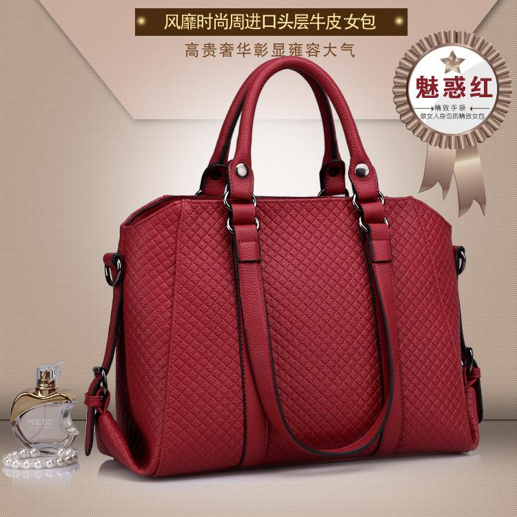 Stylish Quilted Cowhide Leather Tote Bag Lady Fashion Shoulder Handbag