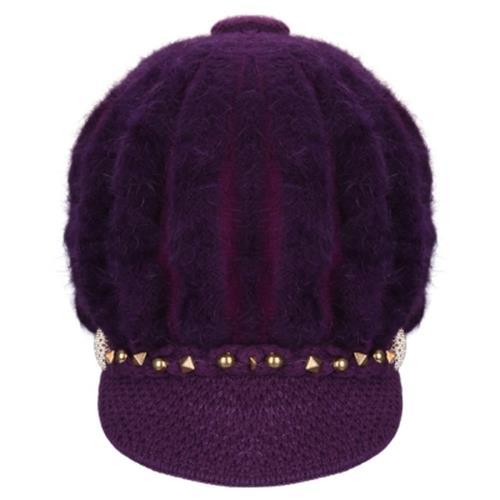 493112816 STYLISH RIVET DECORATION WARM LADIES KNITTED BERET HAT (DEEP PURPLE)