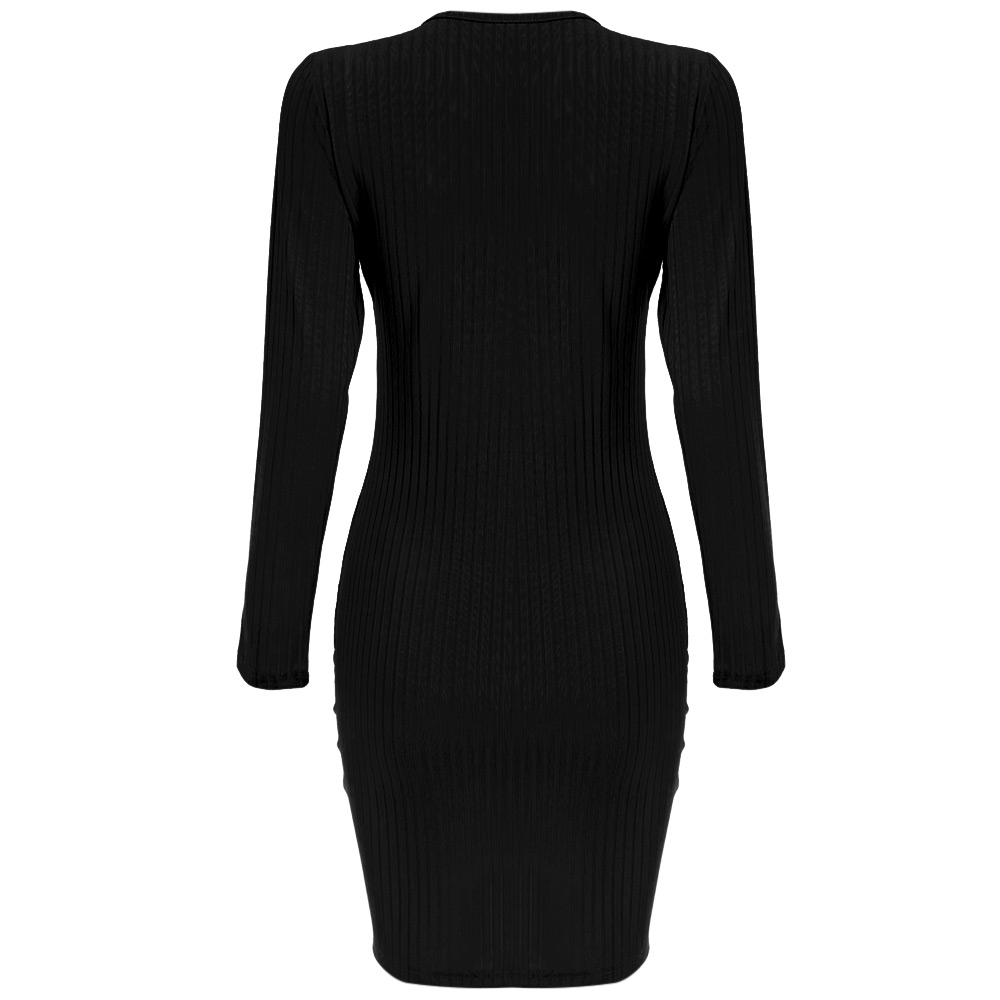 STYLISH V-NECK LONG SLEEVE CRISS-CROSS DESIGN KNITTED WOMEN DRESS (BLA