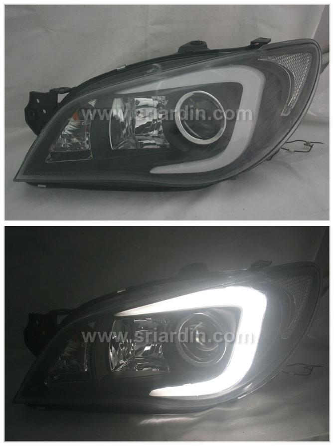 Subaru Impreza V9 05-07 Black Projector Headlamp w Bar