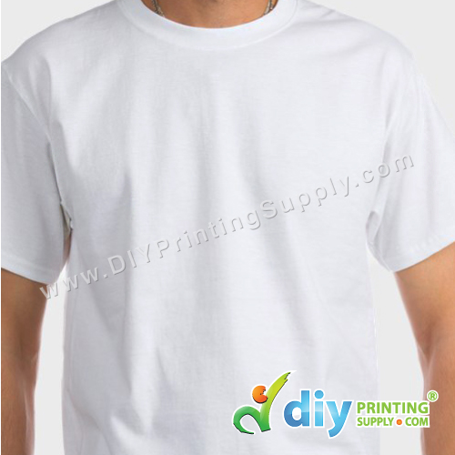 Sublimation Cotton Tee (Round Neck) (Unisex) (White) (XL) (190gsm)