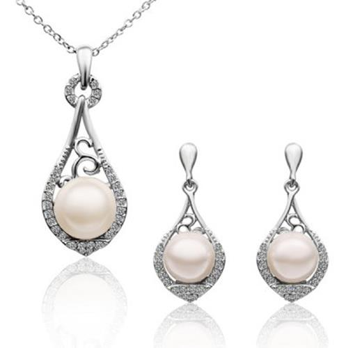 A SUIT OF STYLISH CHIC WOMEN'S FAUX PEARL RHINESTONE DROP NECKLACE AND EARRING