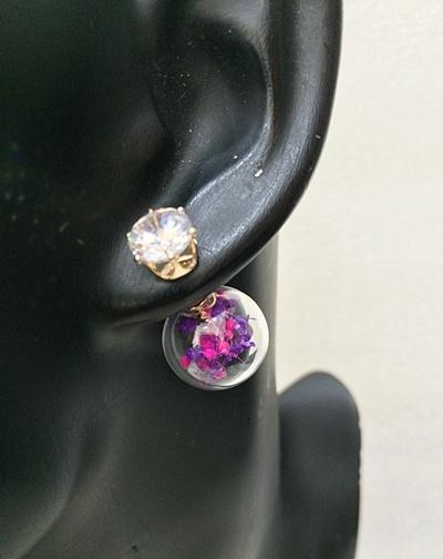 Summer Floral Double Earrings - Purple (Free Shipping)