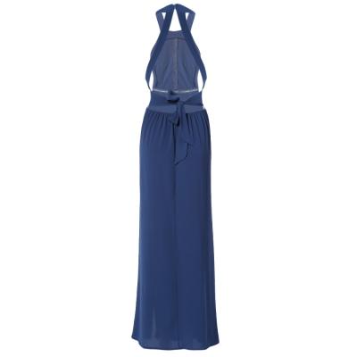 8f2273ade4b Summer Sexy Halter Backless Embroidered Sleeveless Split Dress for Women  (BLUE
