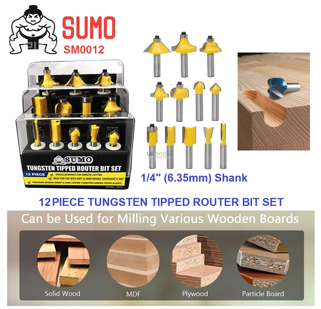 "Sumo 12pcs (1/4"") 6.35mm Shank Tungsten Tipped Router Bit Set"