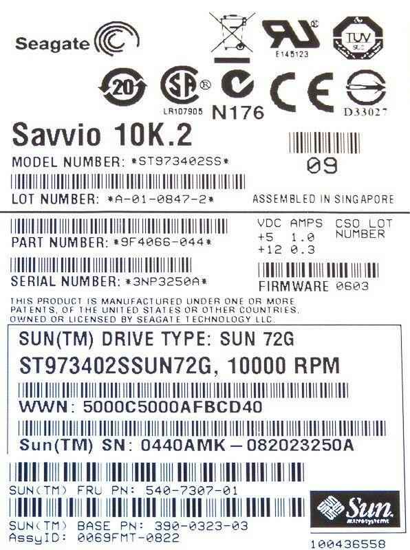 "SUN 540-7307-01 73GB SAS 390-0323-03 2.5"" 10K 16MB"