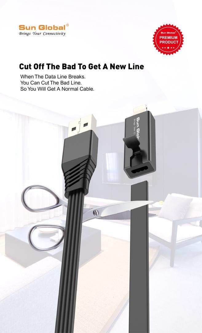 Sun Global 1 5m Lightning iPhone Regenerated Repairable Data USB Cable