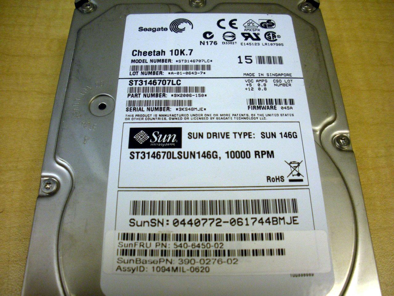 SUN ORACLE 540-6450 146GB 10K U320 SCSI HArd Drive