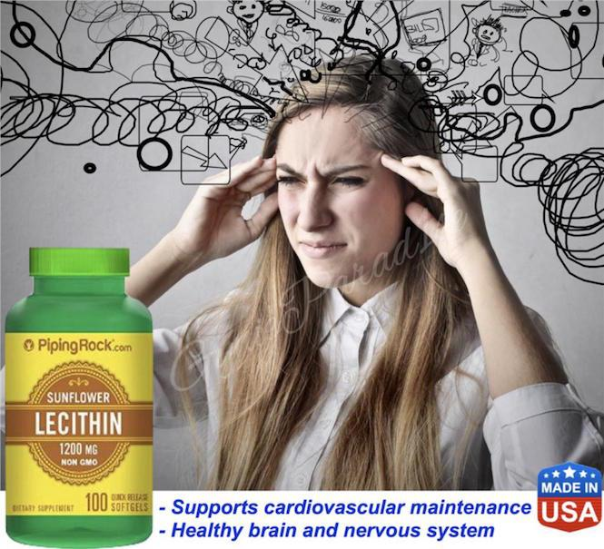 SunFlower Lecithin 1200mg, 100 Softgels, Brain, Nervous Health (USA)