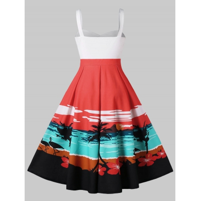 Sunset Beach Print A Line Dress (MULTI)