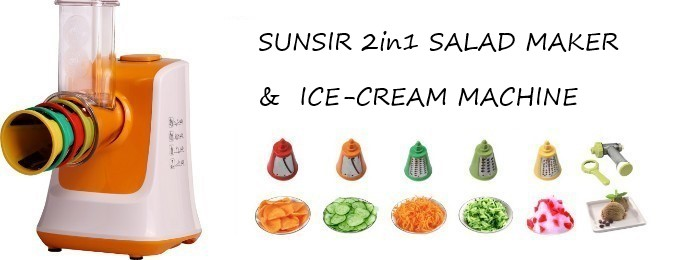SUNSIR 2 In 1 Salad Maker With Ice Cream Machine 753009 I036