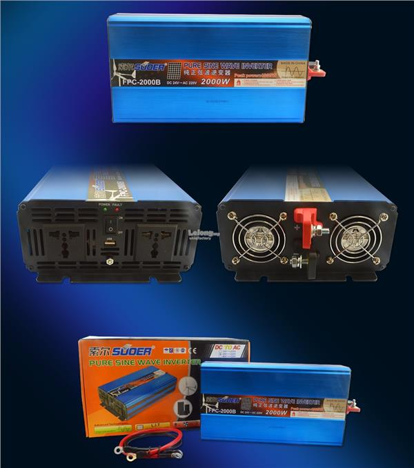 Suoer DC 12 24V to 230V 2000W Pure Sine Wave Solar Car Power Inverter