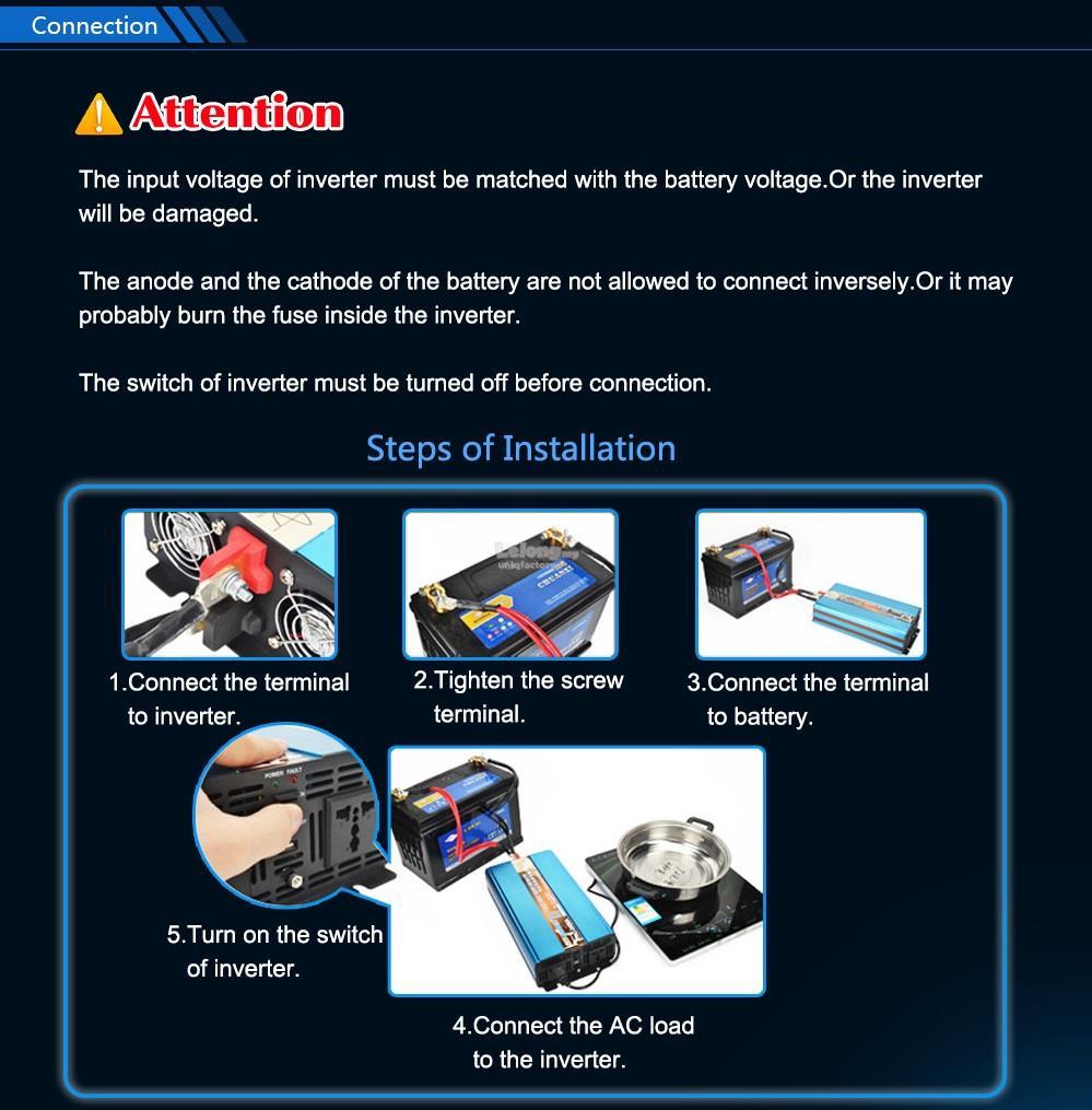 Suoer DC 12V 24V to AC 230V 1000W Pure Sine Wave Solar Power Inverter