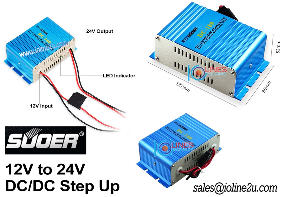 Suoer DC-180 12V to 24V 10A 120W DC-DC Step up converter noise filter Car Sola