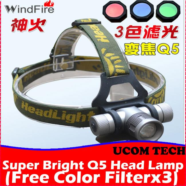 Super Bright Q5 Head Lamp Free Color Filters Torchlight Torch Light