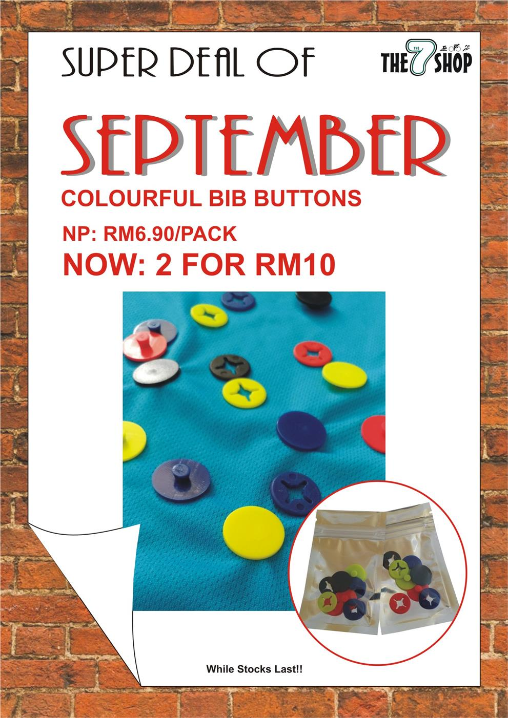 Super Deal of September - Colourful Bib Button
