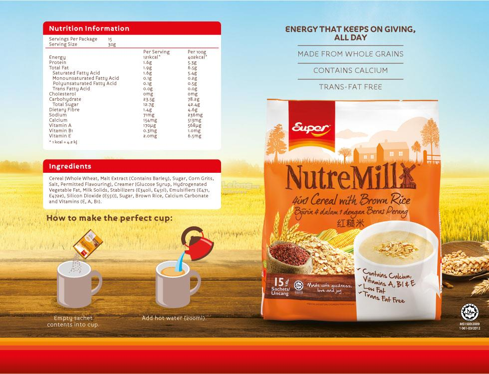 Super NutreMill 4in1 Cereal With Brown Rice (30gm x 15 sachets)