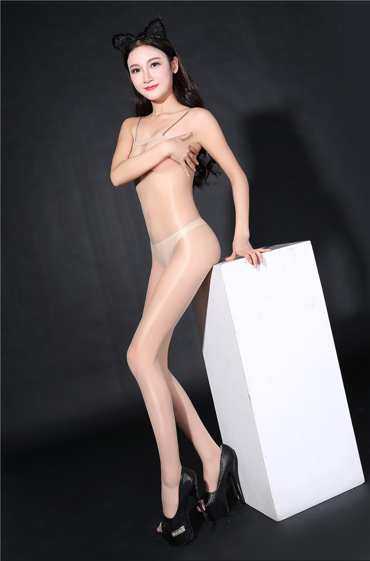 Super Thin Sexy Transparent Sling Open Type Stocking (Beige)