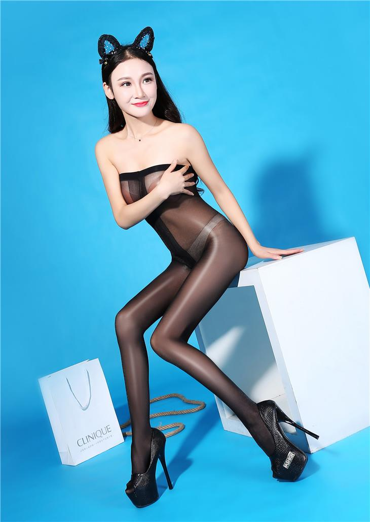 Super Thin Transparent Bright Silk Stocking (Black)