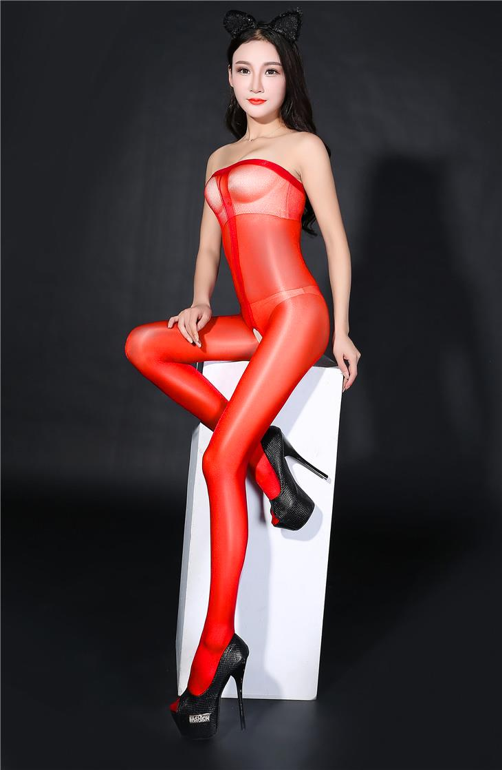 Super Thin Transparent Bright Silk Stocking (Red)