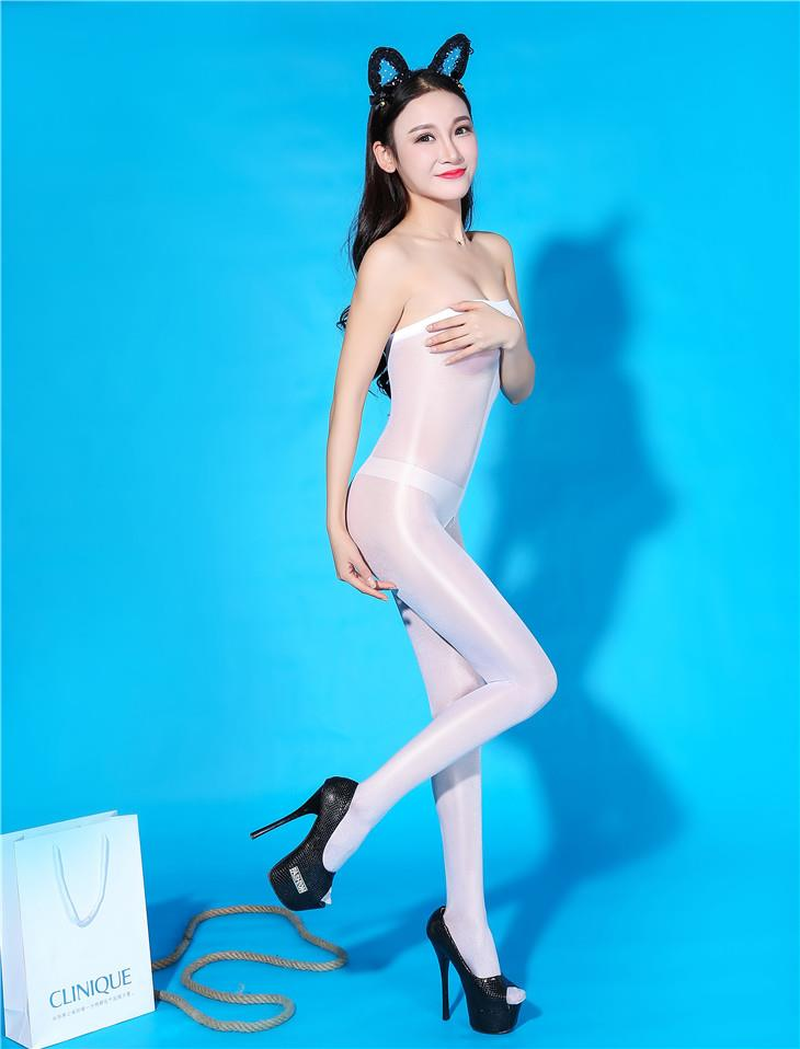 Super Thin Transparent Bright Silk Stocking (White)
