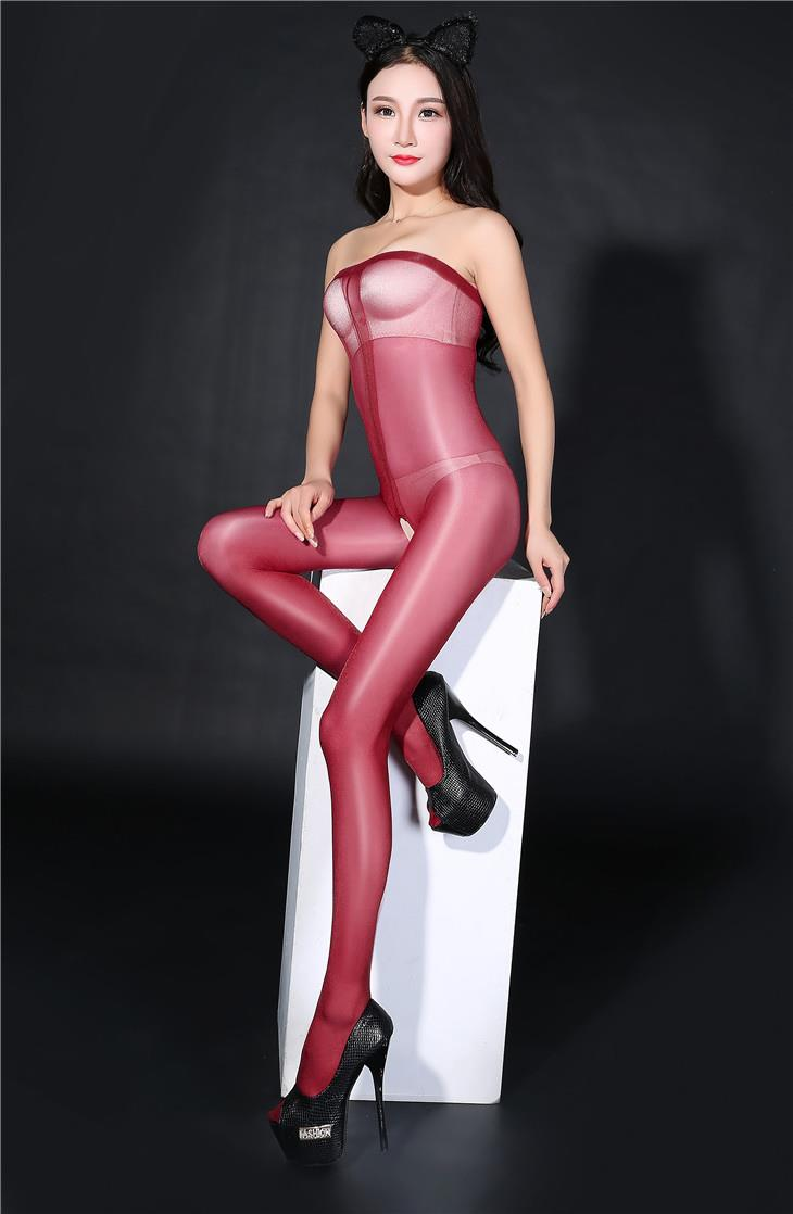Super Thin Transparent Bright Silk Stocking (Wine Red)