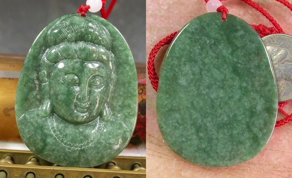 Superb class 'A' oil green Jadeite Jade Kwan Yin pendant-JD147
