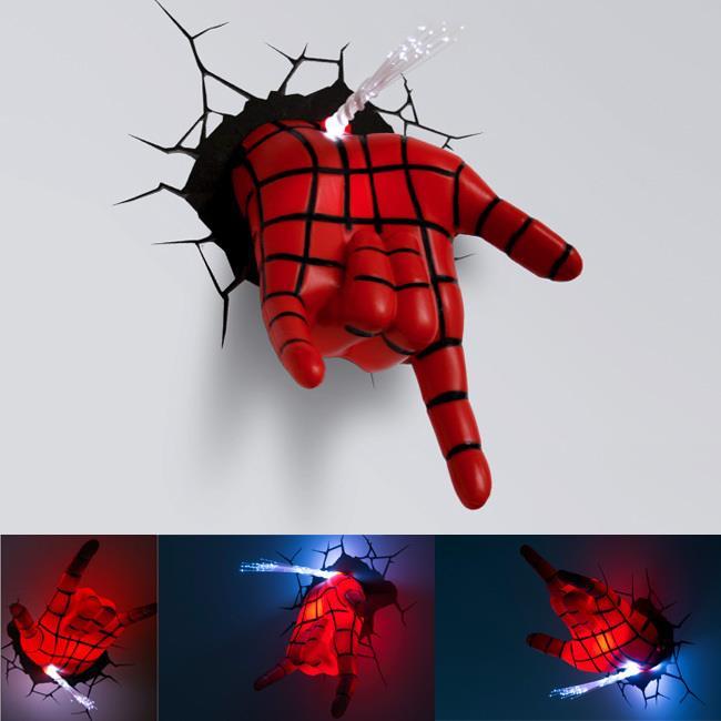 Superhero Spiderman Hand 3D Wall Lamp/Deco Light