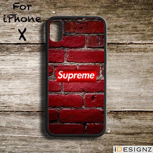 big sale 31fd2 052e3 Supreme Logo On Wall Bricks Case Cover for iPhone X 8 8+ 7 7+ 6 6+ 5S
