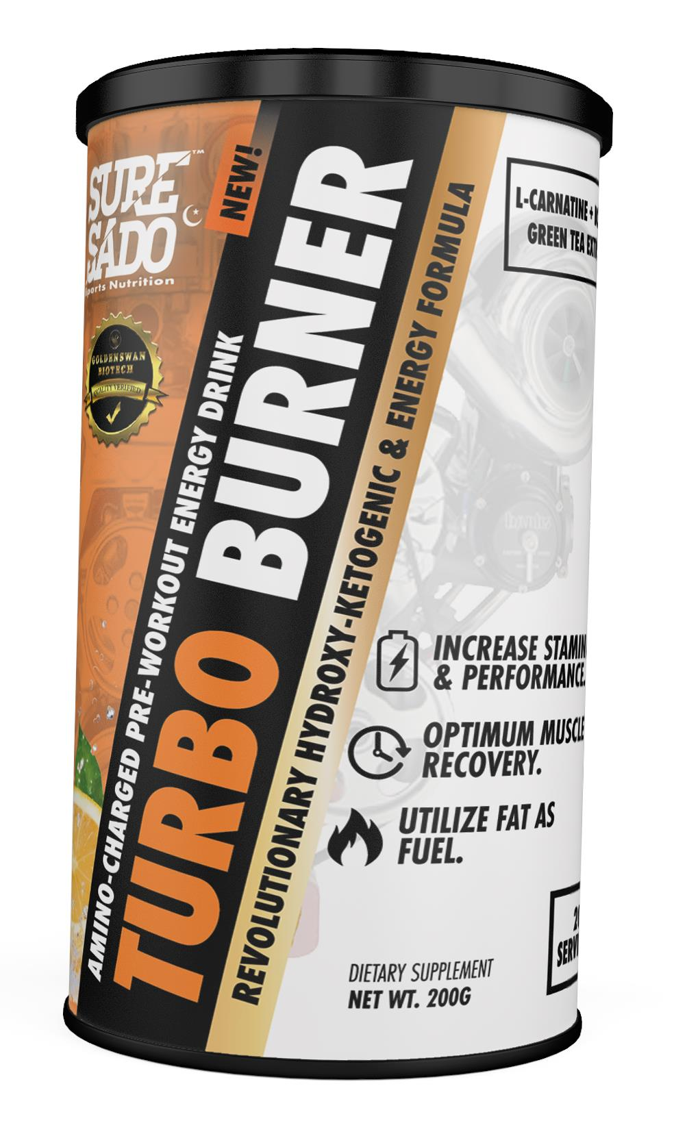 SureSado Sports Nutrition Turbo Burner - Energy, BCAA & Fat Burner 200