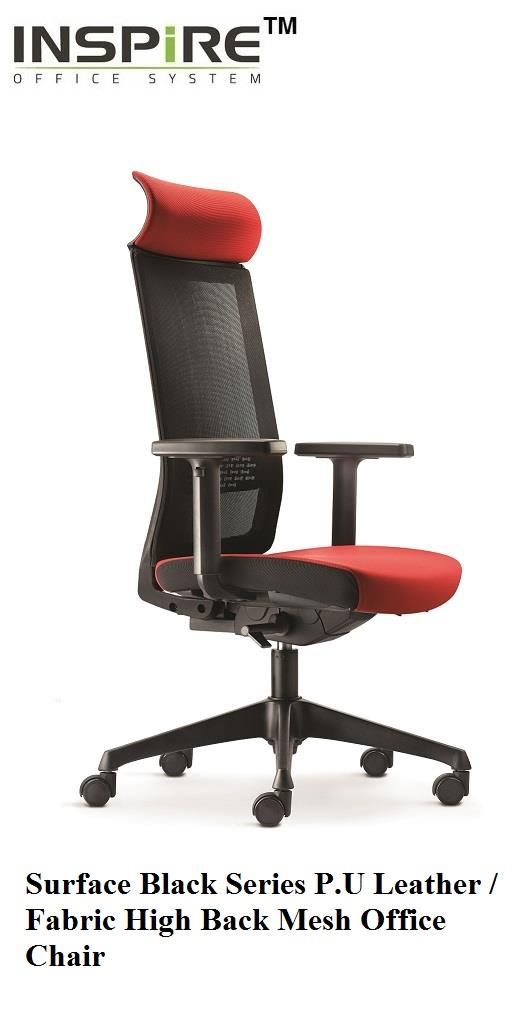 Surface Black Series P.U Leather / Fabric High Back Mesh Office Chair
