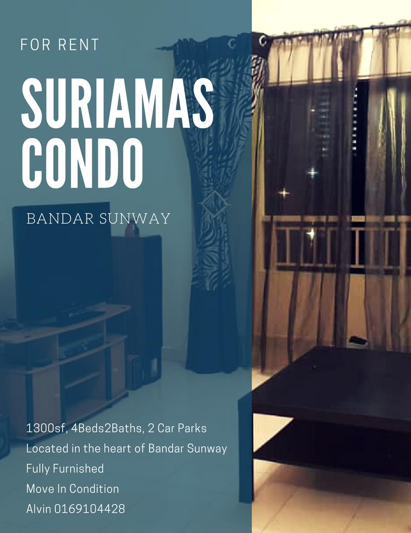 Suriamas Condo for rent, Fully Furnished, 2 Car Parks, Bandar Sunway