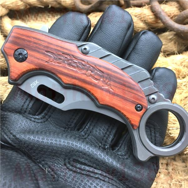 Survival Knife Rosewood Handle Folding Training Hunting Knife X62
