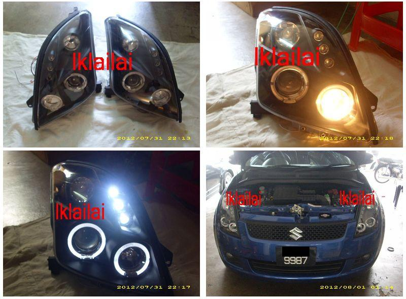 Suzuki Swift `05 Head Lamp Black Projector W/Rim + LED [SK01-HL01-U]