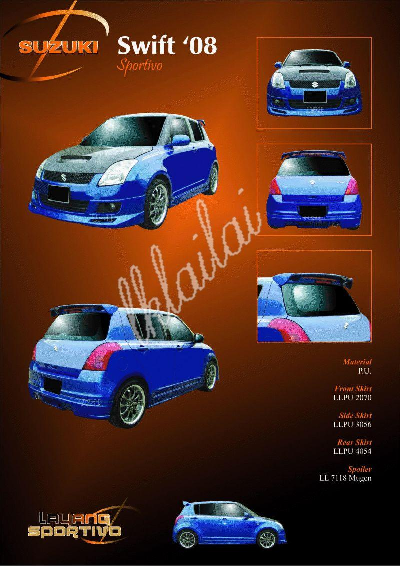 Suzuki Swift '08 Full Set Skirting Sportivo Style PU Body Kit
